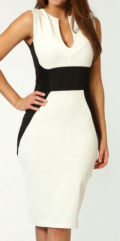 Contrast Color Bodycon Dress //; white dress with black side inserts & waist; slimming look!