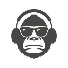 Monkey in sunglasses and headphones mascot vector art illust.- Monkey in sunglasses and headphones mascot vector art illustration – Sanne mags Monkey in sunglasses and headphones mascot vector art illustration – Sanne mags – - Plotter Silhouette Cameo, Silhouette Design, Art And Illustration, Modern Pop Art, Black And White Flowers, Stencil Art, Vector Art, Vector Graphics, Line Art