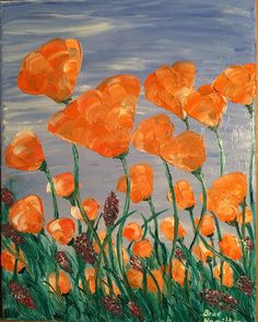 California poppies. Oil painting by Brad Hamilton. Palette knife only.