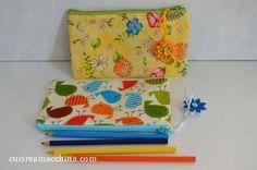 Tutorial gratuito di cucito creativo per realizzare un semplice astuccio in stoffa per la scuola. Particolarmente adatto ai principianti.