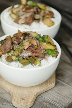 Beef & Asparagus Stir-Fry- I've made this with chicken too!