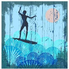 Green Leaf Art 'Surfing II' Wall Art, Small ($58) ❤ liked on Polyvore