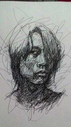 Self portrait ballpoint pen on paper