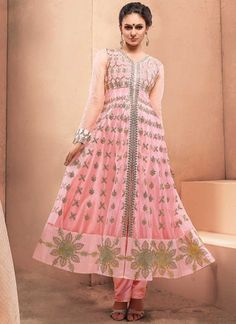 Elite Hot Pink Net Embroidery Work Fancy Anarkali Suit http://www.angelnx.com/Salwar-Kameez/Anarkali-Suits