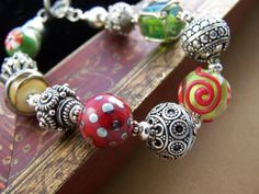 Party Time Bracelet Lamwork Glass Bead and by StoneStreetStudio, $129.00