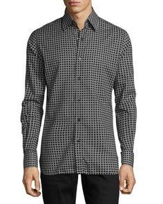 TOM FORD Houndstooth-Print Sport Shirt, Black. #tomford #cloth #