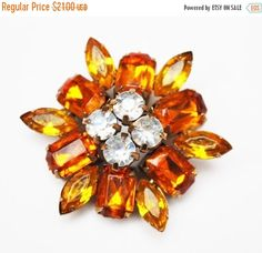 Rhinestone Flower  Brooch - orange and yellow Lucite - Floral pin by serendipitytreasure on Etsy https://www.etsy.com/listing/487428697/rhinestone-flower-brooch-orange-and