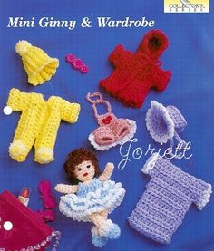 Mini Ginny & Wardrobe, doll & clothing crochet patterns in Crafts, Needlecrafts & Yarn, Crocheting & Knitting Crochet Hand Purse, Craft Patterns, Crochet Patterns, Red Teddy Bear, Plastic Canvas Patterns, Treat Bags, Colorful Pictures, Crochet Toys, Crochet Earrings