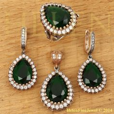 Hurrem Sultan Set Tear Drop Shape Emerald Color by helenfinejewels