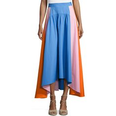 Peter Pilotto Flowy Colorblock Poplin Midi Skirt (67,485 INR) ❤ liked on Polyvore featuring skirts, multi, high low skirt, short front long back skirt, midi skirt, peter pilotto and peter pilotto skirt