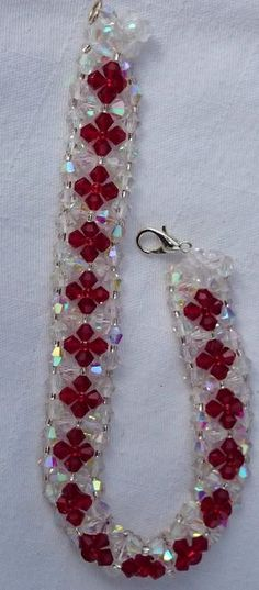 Red and Crystal AB flower bracelet by BristolBeadery on Etsy