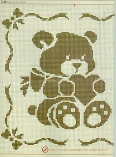Kira scheme crochet: Scheme crochet no. Cross Stitch Baby, Cross Stitch Animals, Cross Stitch Charts, Cross Stitch Designs, Cross Stitch Patterns, Filet Crochet Charts, Knitting Charts, Baby Knitting, Baby Blanket Crochet