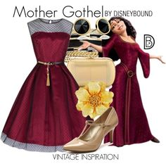 Mother Gothel by leslieakay on Polyvore featuring Diane Von Furstenberg, Kenneth Jay Lane, Trina Turk LA, GUESS, Yves Saint Laurent, disney, disneybound and disneycharacter