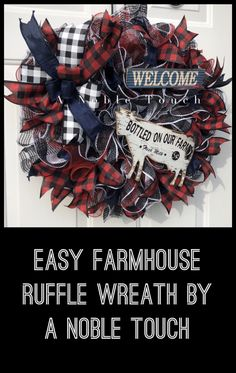 DIY Farmhouse Ruffle Method Wreath by A Noble Touch