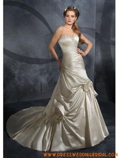 Elegant Strapless Princess Beading Satin Wedding Dresses 201...