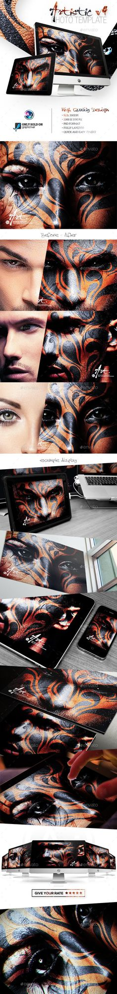 Artistic Photo Template V5 by amorjesu Artistic Photo Template V5 make your picture like the professional graphic design with the two clickPSD FEATURE RGB, 300 DPI 2000×