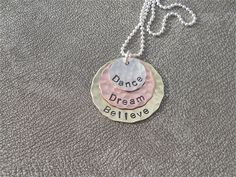 Personalized Dance Dream Believe Hand Stamped Layered Necklace - Dance Teacher Gift - Gifts for Her - Graduation Gift. $34.00, via Etsy.
