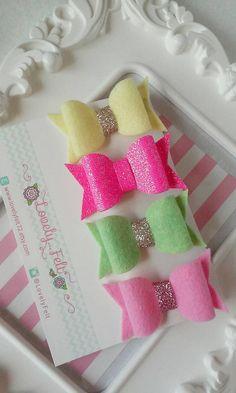 Neon Bows Hair Clips Set Handmade Pink Neon by LovelyFelt72