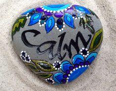 Calm / painted rock /Sandi Pike Foundas / Cape Cod beach stone