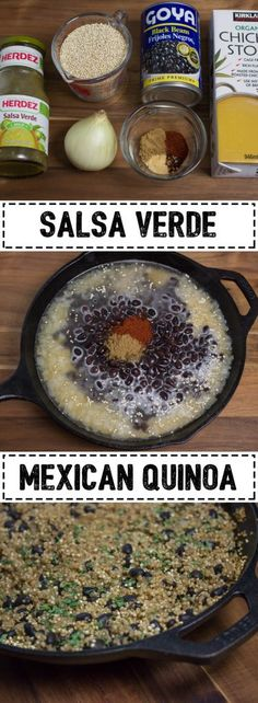 This Salsa Verde Mexican Quinoa is perfect for that Mexican food craving with black beans and tangy salsa verde. It is great for a side dish or can be used as the base in a taco bowl. Mexican Food Recipes, New Recipes, Favorite Recipes, Mexican Cooking, Dinner Recipes, Good Food, Yummy Food, Healthy Food, Healthy Eating