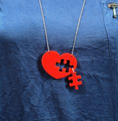 Puzzle Heart Necklace,Plexiglass Jewelry,Lasercut Acrylic,Gifts Under 25