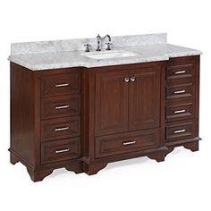 """Kitchen Bath Collection KBC12601BRCARR Nantucket Single Sink Bathroom Vanity with Marble Countertop, Cabinet with Soft Close Function & Undermount Ceramic Sink, 60"""", Carrara/Chocolate"""