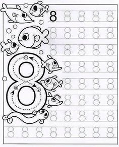 New System-Suitable Numbers Line Study - Preschool Children Akctivitiys Preschool Writing, Numbers Preschool, Math Numbers, Preschool Printables, Kindergarten Worksheets, Preschool Activities, Tracing Worksheets, Worksheets For Kids, Pre Writing