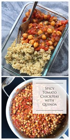 This meal prep friendly recipe is vegan, gluten-free, dairy-free, but still packed with protein from the chickpeas and quinoa. Great eaten cold and reheats well, this is your solution to busy weekday lunches. And the kick from the pepper flakes make it anything but boring.