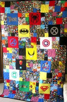 The Ultimate Super Hero Quilt. Marvel Comics. DC Comics. Thor. Spiderman. Batman. X-Men. Fantastic 4. Captain America. The Wolverine. Iron Man. Avengers. Green Lantern. The Hulk. And Superman