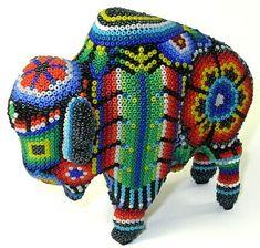 Buffalo ~ 4.5 Inch ~ Huichol Bead Art