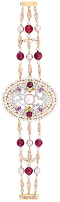 Chanel Secrets D'Orient Byzance Bracelet in 18 karat white and pink gold, diamonds, cultured pearls, pink sapphires and rubellites.  Via The Jewellery Editor.