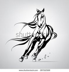 Vector silhouette of a running horse