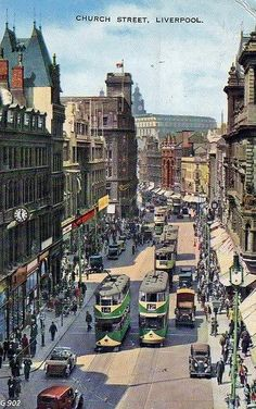 Old picture of Church Street Liverpool Town, Liverpool Docks, Liverpool History, Liverpool England, England Uk, Beatles, Ringo Starr, George Harrison, Leeds