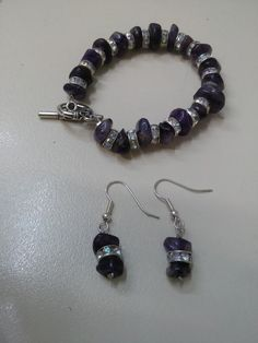 amethyst bracelet earrings bead rhinestone silver plated clasp tinas creations  #TinasCreations #beadedbraceletandearrings