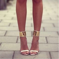 Shoes: heels gold sandals high heels fashion strappy sandals gold party date outfit ankle strap gold