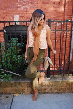 Fall Fashion - Tan Lace Crop Top + Camel Scarf + Olive Harem Pants + Tan Booties