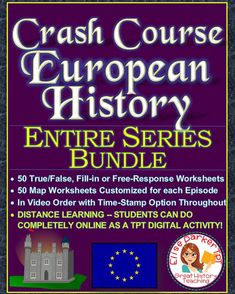 @greathistory posted to Instagram: Tap the link in my bio for more info: @greathistoryteaching Teaching European or World History this year? I highly recommend Crash Course European History Worksheets for highly engaging video lessons! The set below includes 50 separate worksheets, one for each episode, plus a map worksheet to go with many episodes! ALL WORKSHEETS CAN BE DONE FULLY ONLINE FOR DISTANCE LEARNING! Includes detailed answer keys and a time-stamp option for every question, with a… Social Studies Activities, Teaching Social Studies, Middle School History, High School, Crash Course World History, Upper Elementary Resources, Map Worksheets, European History, Teacher Hacks