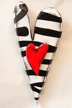 Zebra Heart With Red Heart project for ceramic sculpture class by rachel reitan at S.P.A.R.C.