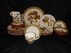 VINTAGE STANGL® POTTERY 21pc. ORCHARD SONG 4x 5-PIECE PLACE SETTING WITH PLATTER #Stangl