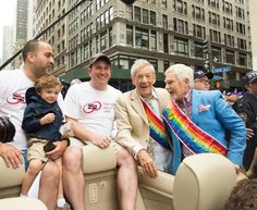Actors Ian McKellen (2nd r.) and Derek Jacobi (r.) participated in the 2015 Gay Pride March on Fifth Avenue in New York City, New York.