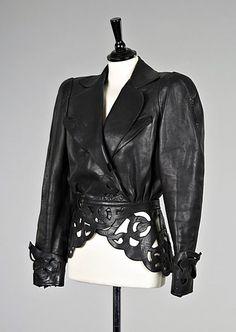 142: A Thierry Mugler black cutwork leather jacket, ear - eBay (item 160186109456 end time Dec-13-07 07:52:48 PST) :  coat vintage wear