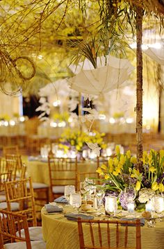 Beautiful yellow tablescape and decor