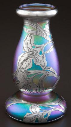 """ Glass vase with silver overlay circa 1900 Alvin Corporation, Providence "" Art Nouveau, Art Of Glass, Cut Glass, Vintage Vases, Vintage Keys, Keramik Vase, Objet D'art, Antique Art, Colored Glass"