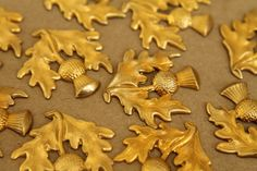 2 pc. Large Raw Brass Thistle Stampings: 30mm by 31mm - made in USA - RB-267