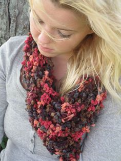 Happy 4 Fall Hues Infinity Scarf, Crochet Infinity Scarf, Chain Infinity Scarf. $20.00, via Etsy.