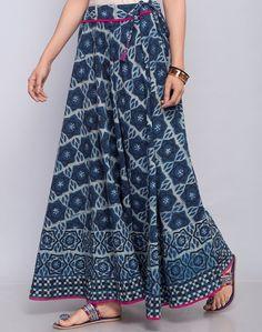 Buy Fabindia Indigo Cotton Dabu Printed Long Skirt online - Fabindia.com Indian Fashion Dresses, Skirt Fashion, Fashion Outfits, Long Skirts Online, Vintage Dresses, Nice Dresses, Salwar Pattern, Dress Sewing Tutorials, Belle