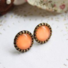 Pastel Roulette Collection : Light Orange Color Post Earrings. $15.00, via Etsy.