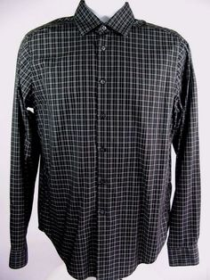 Calvin Klein Men's Dress Shirt Black Plaid Check Slim Fit Non Iron Size Large #CalvinKlein