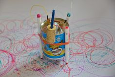 How to make a Scribble Bot and fun ideas for testing them. All you need is a small DC motor, AA battery, leads and felt tips pens.