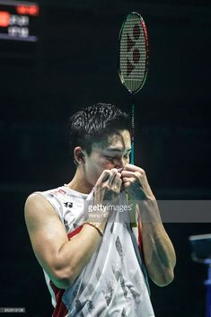 Kento Momota of Japan celebrates winning the men's singles final against Chen long of China at the 2018 Badminton Asia Championships on Apirl 2018 in Wuhan, central China's Hubei province. Badminton Match, Badminton Photos, Chen Long, 6 Photos, Tennis Racket, Idol, Asia, Lost, Japan